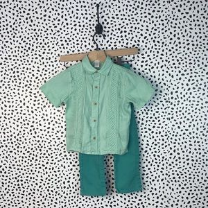 Janie & jack Easter linen outfit for boys green